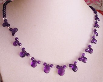 Amethyst Briolettes Stones Crystal Beads 14K 585 Necklace