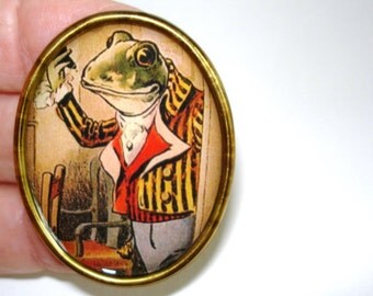 Frog Animal Brooch Gold Silver  Tone