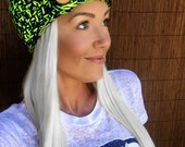 Seattle Seahawks Head Wrap Headband Hair Accessory Band Hawks Fashion Neckwarmer Scarf Blue Lime Green w/ Reclaimed Wood Buttons Woman Men