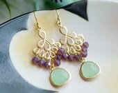 Gold chandelier earrings, Small Chandeliers, purple and green wedding, Bridesmaids earrings, Green and purple opal earrings