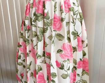 Gorgeous 1950's Pink Day Dress with Novelty Roses Skirt -- Size M -- Retro -- Mad Men