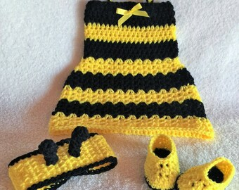 Crochet Baby Dress - Newborn Halloween Costume - Crochet bumble bee outfit - Bumble bee baby shower - Baby Halloween Costume - Baby Bee