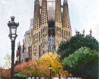 Barcelona Sagrada Familia Oil Painting - 10x12in Giclee Print