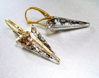 Dagger Jewelry, Dagger Earrings, Swarovski Crystal Gold Patina Spike, Venetian Glass Gold Earrings, Euro Leverback  Lovely LUXE Jewels