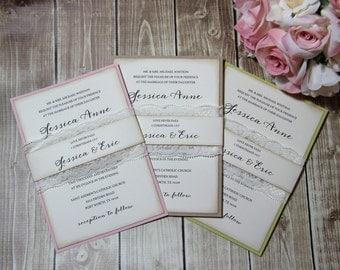 Country Chic Wedding invitations, Boho Chic Wedding Invitations, Rustic Lace Wedding Invitations, Lace, Rustic Wedding Invitations, SAMPLE