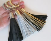 Large Leather Keychain Silver Tassel Keyring Large Clasp Silver-Gray-White Purse Charm bag Accessory Gift to Her haute couture