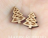 4pcs (SWC134) DIY Laser Cut Wooden Tree Charms
