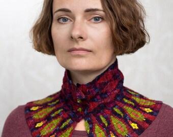 Crocheted Collar Tapestry Crochet -- Peacock Fantasies in Purple