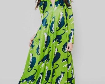Vtg 60s 70s Dreamy Rare Cat Caftan David Brown Tent Psychedelic Green Blue Mod Bright MuMu Dress S/M/L