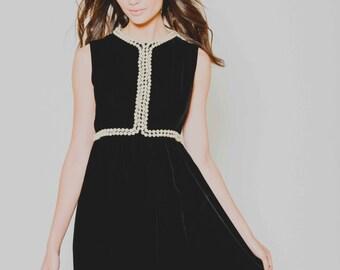 Vtg 60s Super Pretty Empire Goth Pearl Lolita Baby Doll Black White Mod Cute Mini Dress S