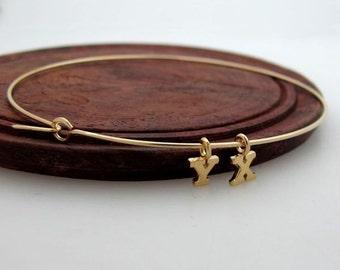 Initial Charms Bracelet - Gold Bangle Bracelet - Custom Initials Bracelet.Personalized Bracelet - Dangles Bangle Bracelet. Dainty Bracelet