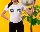 EYELID LADY LUMPS T-shirt, Eyelids T-shirt, Eyelids Tee, White Tee, Eyes T-shirt, Limited Edition T-shirt