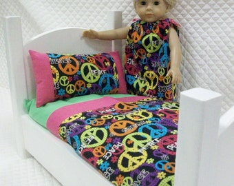 Peace Signs Doll Bedding 3 PC Set, Doll Linens, Fashion Girl Doll Bedding, 18 in Doll Pillow and Sheets, Toys and Games,  Dolls Doll Bed