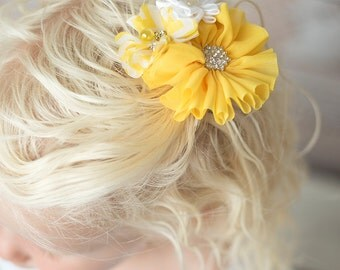 yellow hair clip, white hair clip, yellow flower clip, flower girl hair accessories, girl birthday gift, toddler hair clip, bridal hair clip