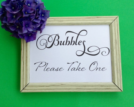 Wedding Printable, Bubbles Sign