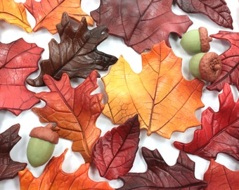 Fall Leaves & Acorns Wedding Cake Topper Sugar Paste Realistic and Natural Fall Colors by lil sculpture- Set of 12 or 24