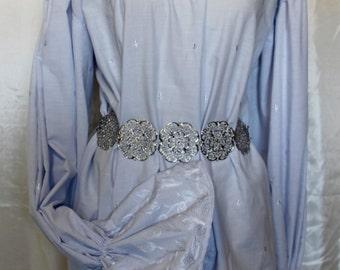 Blue Grey Hip Length Renaissance Costume Dress Chemise Medieval Peasant Shirt