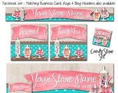Candy Store Etsy and Facebook Set - Simple & Custom! Watercolor Banner Set, Blog, Website Headers  Business Cards, Made to Match Items