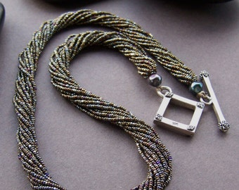 Vintage Seed Bead Necklace - Multi Strand Beaded Necklace with Sterling Silver