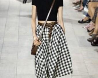 LADYLIKE 80s black and white windowpane CHECK full MIDI skirt, Richard Warren Saks fifth Ave, size medium