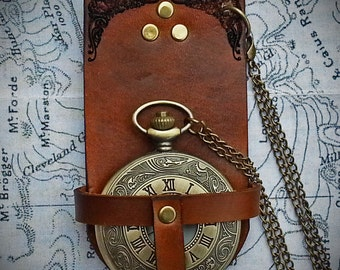 Steampunk Leather Pocket Watch Holder, including watch and chain