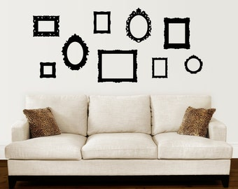 Baroque Picture Frame Decals - Set of 9 - Picture Frame Wall Stickers - Frame Wall Decal
