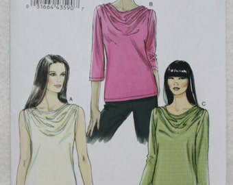 "Very Easy Vogue Sewing Pattern v8669 Pull Over Tops with Drape neckline For Stretch Knits Size (DD) 12-14-16-18. bust 34""-40"""