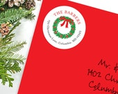 Christmas Address Labels - Christmas Wreath - Sheet of 24