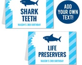 INSTANT DOWNLOAD Shark Party Buffet Cards - EDITABLE Printable File