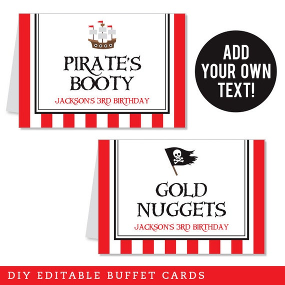 INSTANT DOWNLOAD Pirate Party Buffet Cards - EDITABLE Printable File