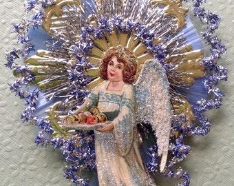 Vintage Look Angel Christmas Ornament Victorian-Vintage 1908 German Postcard,German Dresdens,Vintage Tinsel,Spun Glass,Vtg Glass Beads