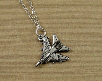 USA Fighter Jet Necklace, Silver Fighter Jet Charm on a Silver Cable Chain