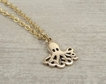 Little Octopus Necklace, Gold Plated Octopus Charm on a Gold Cable Chain