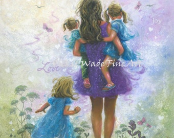 Mother and Three Daughters Art Print, three blonde sisters, three girls, Mom, purple, blue, mother carrying three girls, Vickie Wade Art