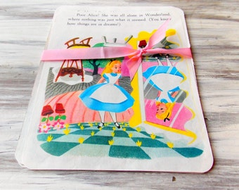 Vintage Children's Book Pages  / Alice In Wonderland / Children's Book Pages