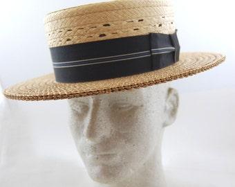 1930s Mens Straw Boater Hat - Boater Hat - Skimmer