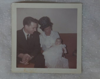 1950s or 60s Photograph, Baby in Baptismal Gown, Man and Woman with Big Hat