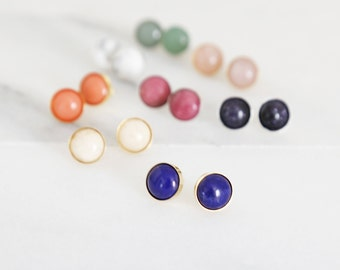 Gemstone Studs - Natural Gemstone Studs in gold or sterling silver