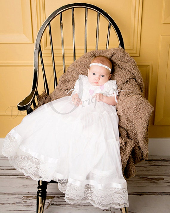 Lace and tricot Lauren Christening Gown Blessing Dress