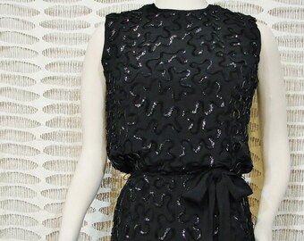 Little Black Dress - Sequined - Jr. Theme New York - Circa 1960's