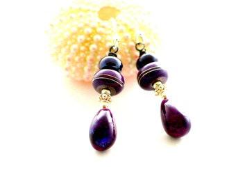 Purple Glass Bead Earrings. Deep Purple Dangle Earrings. Colorful Lampwork Earrings. Thai Orchid Beads. Glass Bead Jewelry.