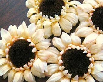 Sunflower Artificial Silk Flower Decor Sun Flower Yellow Flower Head Millinery Flower Fall Flower Artificial Flower Supply Floral Suppliesy