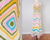 Vintage 70s hand knit GRANNY SQUARE maxi dress / all hand done / Bohemian hippie crochet dress