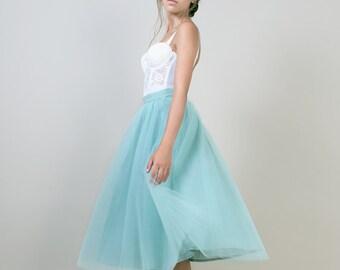 Mint green Tea length tulle skirt / Sea foam green skirt / adult tutu skirt / Bridesmaid skirt / knee tulle skirt / short tulle skirt /