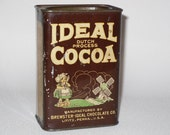 Vintage Ideal Dutch Process Cocoa Advertising Tin Brewster Ideal Chocolate Co. Lititz Penna
