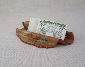 Ceramic Business Card Holder  - Leaf Design - Made with a Real Hollyhock Leaf - Holds at least 50 cards - Recipe Cards - Nature Lover Gift