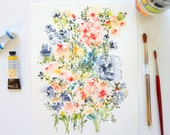 From the Garden No. 13, Fine Art Print of Watercolor Flowers, 8x10, Floral Art Decor, Flowers Impression