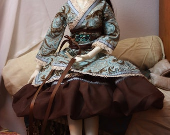 Brown Paisley Waloli Style BJD Dress Set for SD and SSD