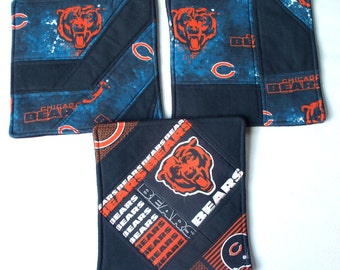 Chicago Bears Quilted Coasters or Mug Rugs, Your Choice Custom Candle Mats Set of 4, RTS OOAK,NFL Football Collector Christmas Gift