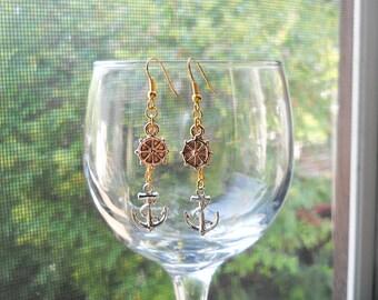Nautical Earrings, Anchor Earrings, Helm Earrings, Charm Earrings, Anchor and Helm, Nautical, Anchor, Helm, Cute Earrings, Ocean, Marine